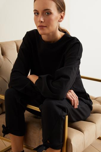 Siyah Uzun Kol Crop Sweatshirt