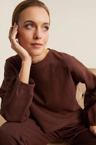 Kahverengi Uzun Kol Crop Sweatshirt