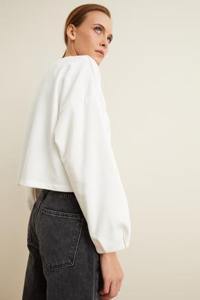 Bej Uzun Kol Crop Sweatshirt