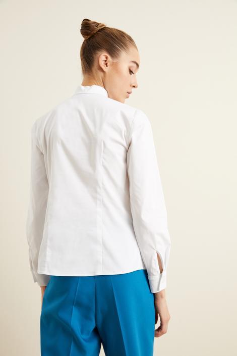 Beyaz Dantel Şeritli  Poplin Gömlek
