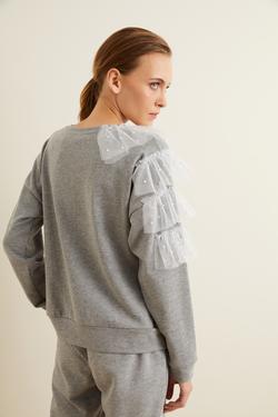 Tül Detaylı İncili Sweatshirt