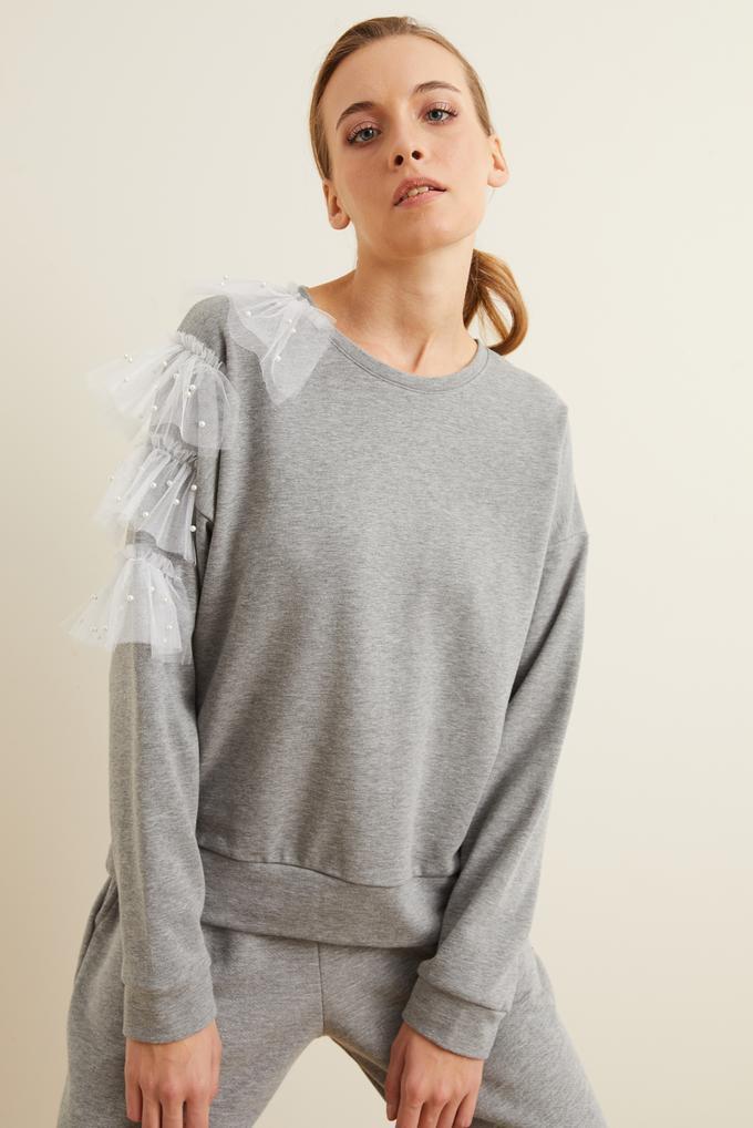 Gri Tül Detaylı İncili Sweatshirt