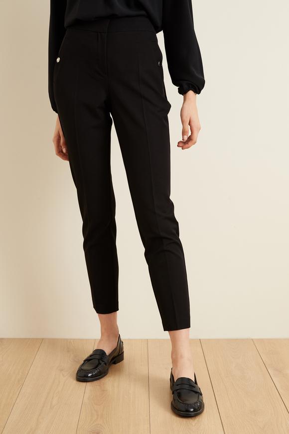 Siyah Metal Aksesuarlı Cepli Pantolon