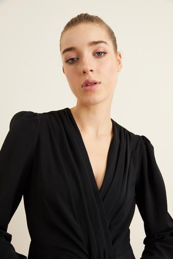 Siyah Kruvaze Uzun Kollu Bluz