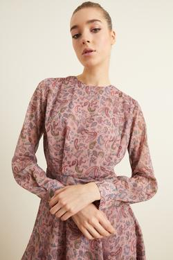 Desenli Pileli Şifon Elbise