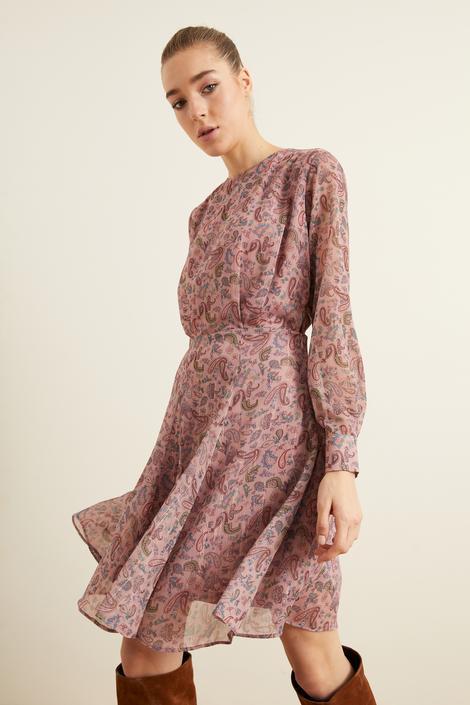 Pembe Desenli Pileli Şifon Elbise