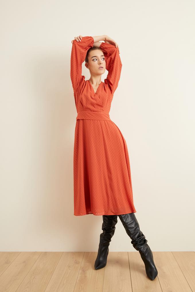 Tarcin Jakarlı Kruvaze Kloş Elbise