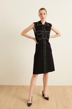 Dikiş Detaylı Triko Elbise