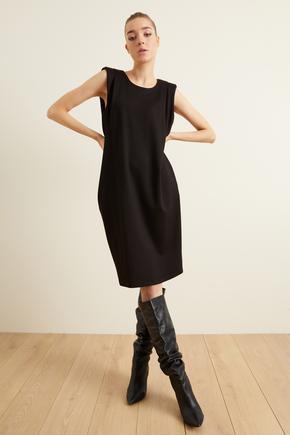 Siyah Örme Omuz Detaylı Elbise