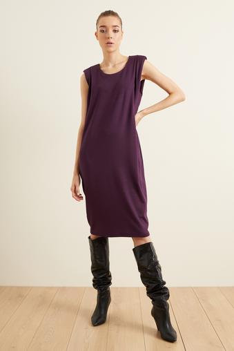 Mor Örme Omuz Detaylı Elbise