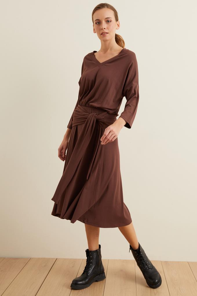 Kahverengi Örme Belden Bağlamalı Elbise