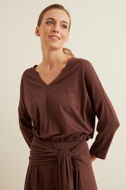 Örme Belden Bağlamalı Elbise