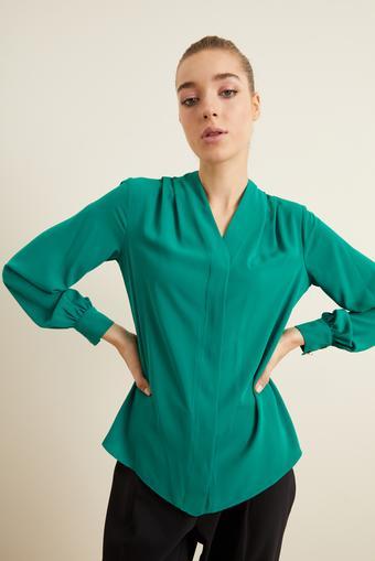 Yeşil V Yaka Gömlek
