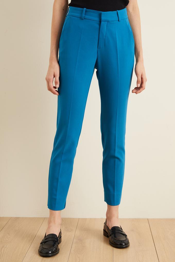 Mavi Paçası Yırtmaçlı Cepli Pantolon