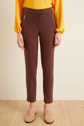 Kahverengi Önden Fermuarlı Pantolon