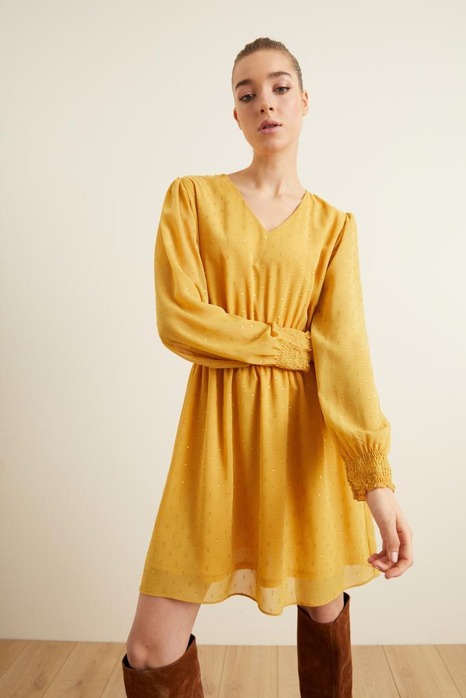 Sarı Beli Kroşetalı Şifon Elbise