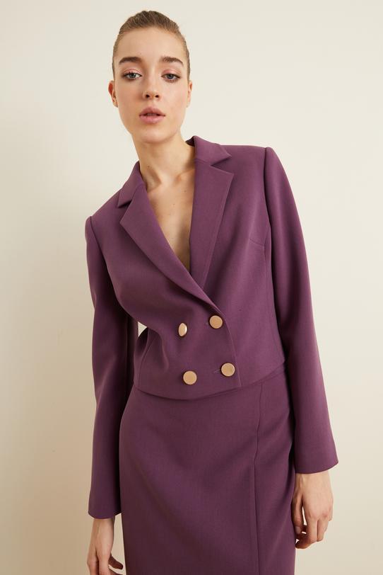 Mor Crop Blazer Ceket