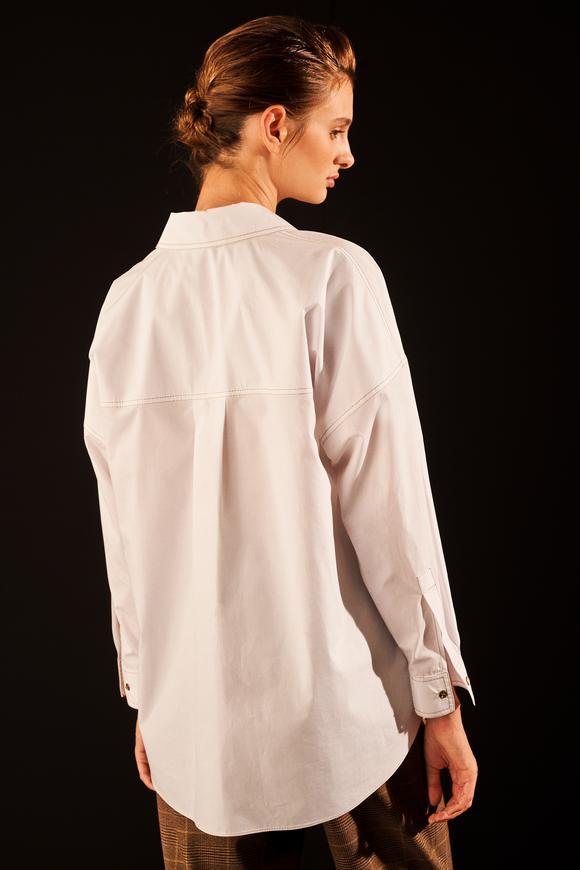 Beyaz Dikiş Detaylı Oversize Gömlek