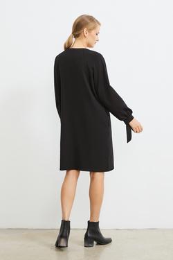 Bağlama Detaylı Taşlı Elbise
