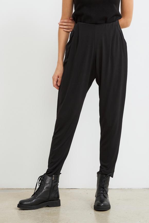 Siyah Pili Detaylı Örme Pantolon