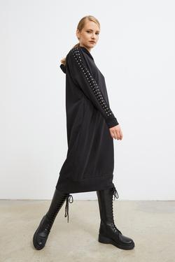 Kuşgözlü Kapüşonlu Sweat Elbise