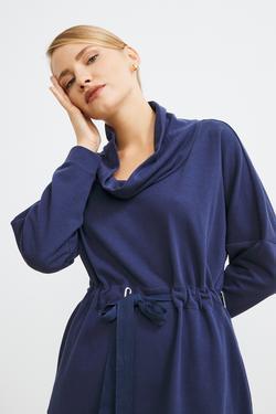 Degaje Yakalı Sweat Elbise