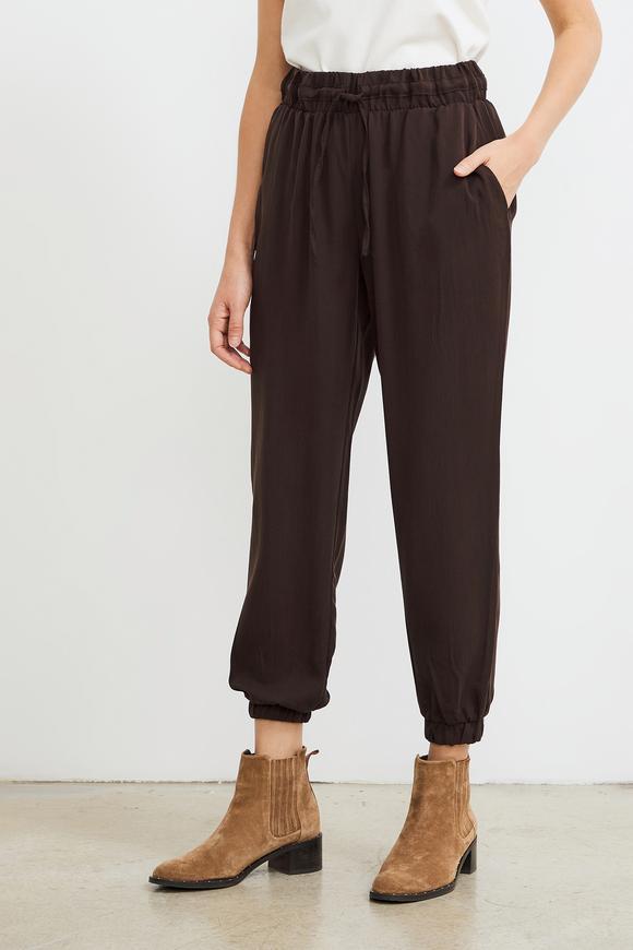 Kahverengi Paçası Lastikli Tencel Pantolon