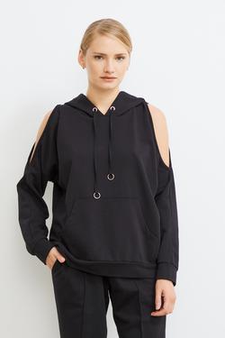 Omuzları Açık Kapüşonlu Sweatshirt