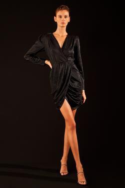 Drapeli Kruvaze Örme Elbise