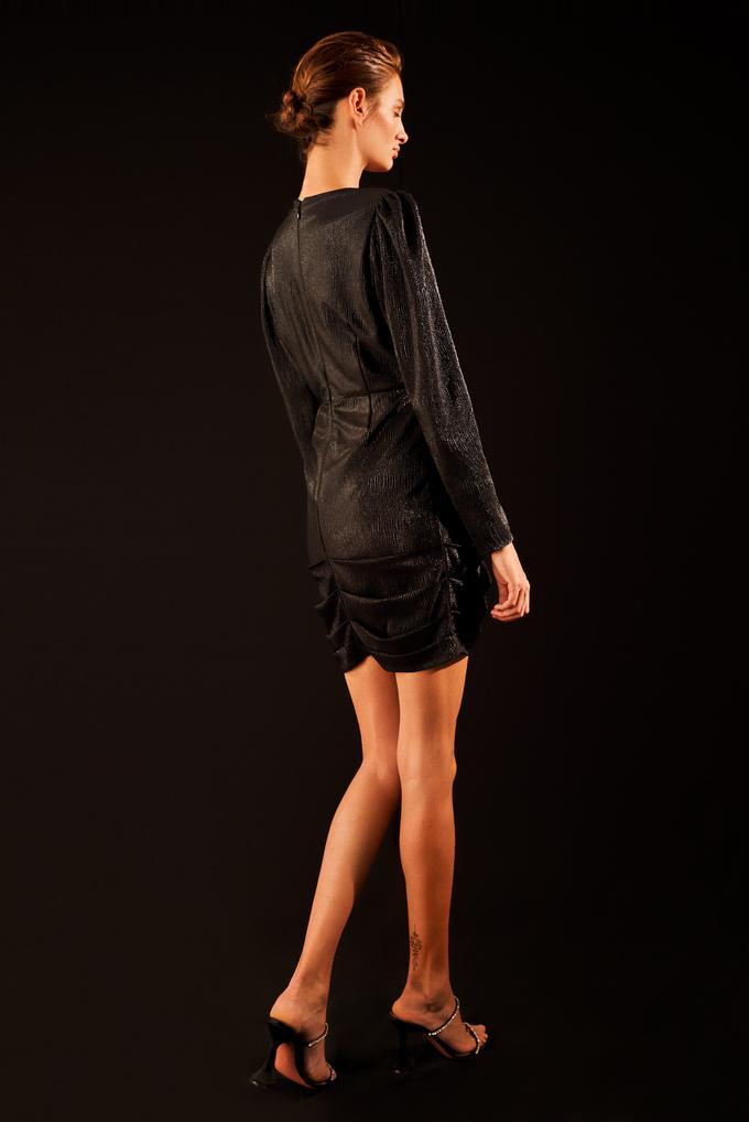 Siyah Drapeli Kruvaze Örme Elbise