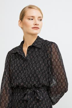 Gömlek Yaka Desenli Şifon Elbise