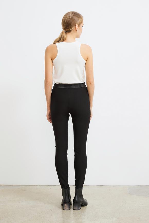 Siyah Femuarlı Örme Tayt Pantolon