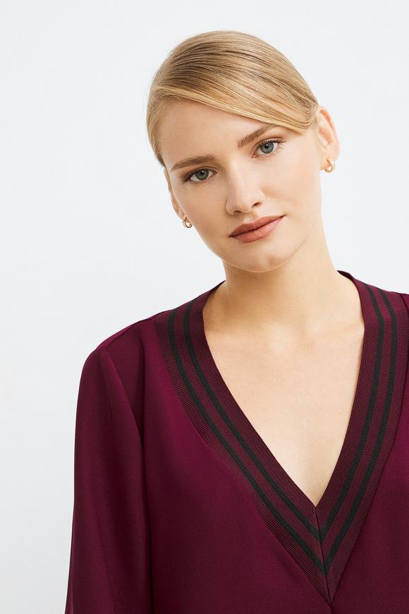 Bordo Ribanalı Asimetrik Krep Elbise