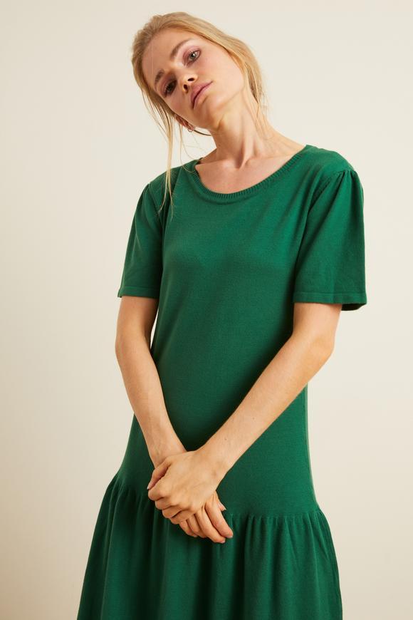 Yeşil Etek Ucu Büzgülü Triko Elbise