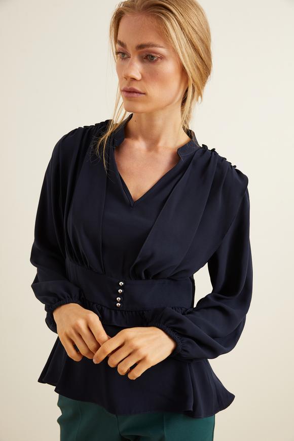 Lacivert Omuzları Fırfırlı Düğmeli Bluz