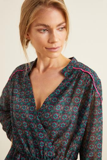 Yeşil Kolları Lastikli Desenli Bluz