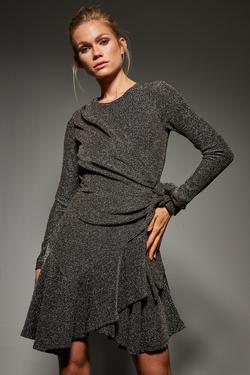Volanlı Simli Örme Elbise