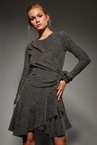 Siyah Volanlı Simli Örme Elbise