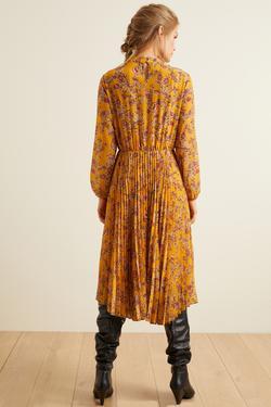 Pliseli Desenli Şifon Elbise
