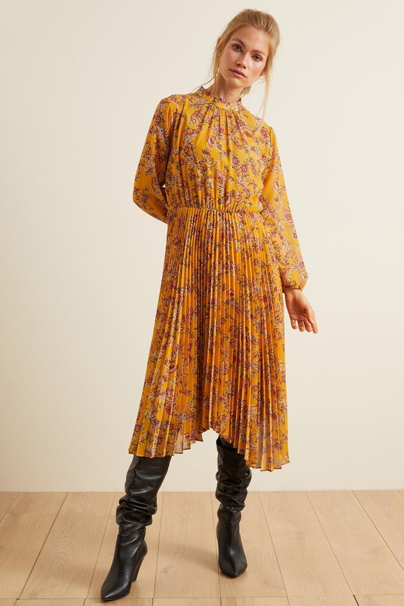 Sarı Pliseli Desenli Şifon Elbise