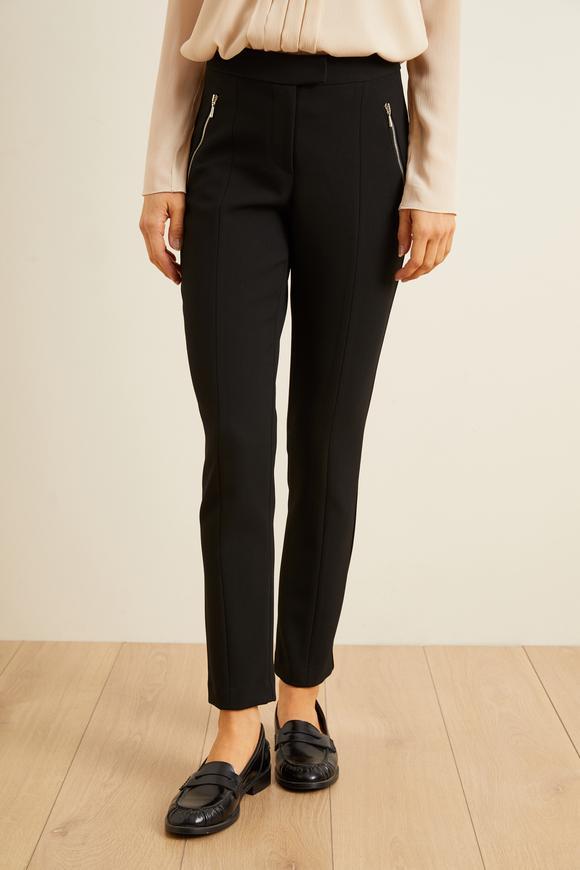 Siyah Önden Fermuarlı Pantolon