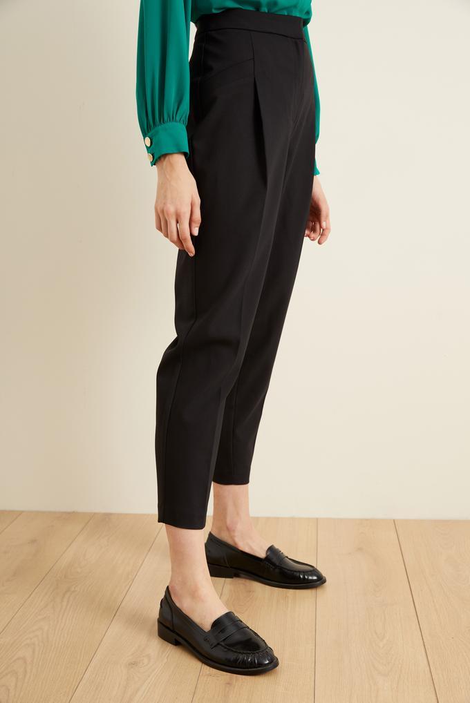 Siyah Fleto Cepli Pileli Pantolon