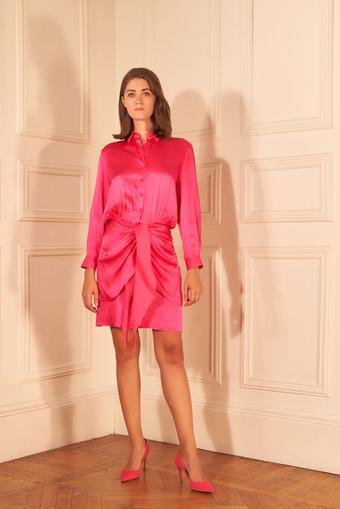Pembe Saten Önü Bağlamalı Gömlek Elbise