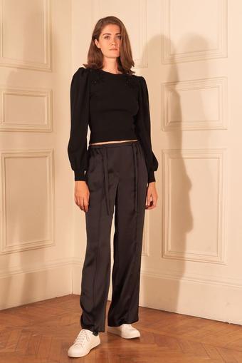 Siyah Beli Bağcıklı Saten Pijama Pantolon