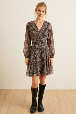 Volanlı Desenli Kruvaze Elbise