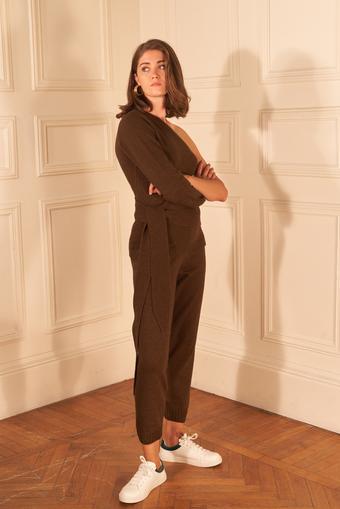 Kahverengi Kaşmir Karışımlı Paçası Ribanalı Triko Pantolon