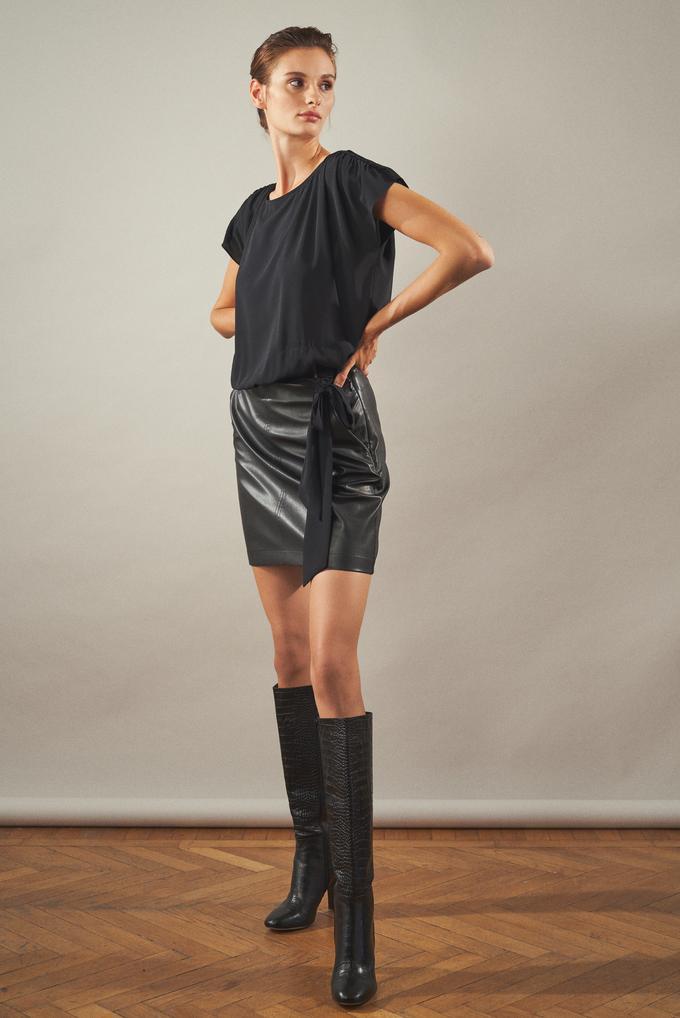 Siyah Bağlamalı Deri Garnili Elbise