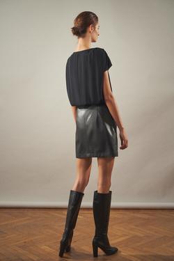 Bağlamalı Deri Garnili Elbise