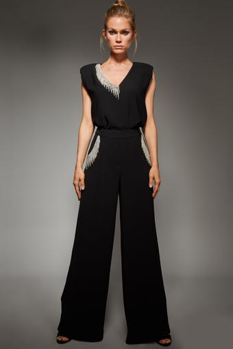 Siyah Kristal Taşlı Bol Pantolon