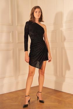 Drapeli Tek Omuzlu Kadife Elbise